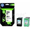 Hewlett Packard Genuine No.350 & 351 Black & Tri-Colour Combo-Pack (SD412EE)