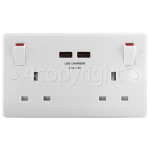 4ourhouse Approved part 2 Gang Power Socket With 2A USB Charging Ports
