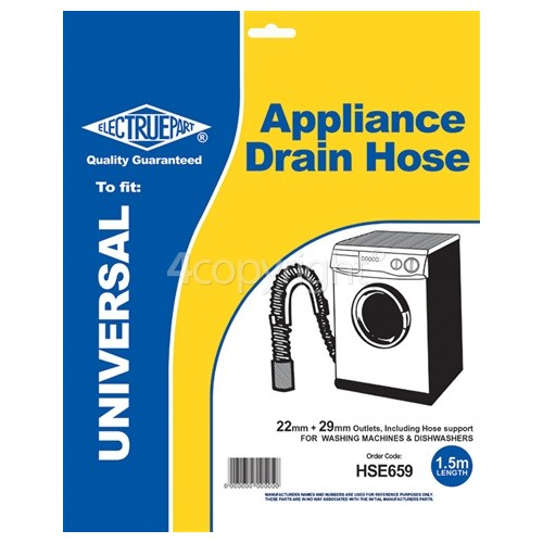 Caple Universal 1.5m Drain Hose Straight 22mm / 29mm Internal Dia.s'