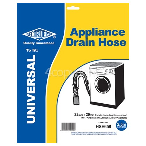 Caple 2.5m Universal Drain Hose (Straight Ends) 22mm / 29mm, Internal Dia.s'