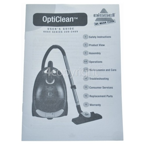 Bissell OptiClean 60A4E User'S Guide - 60A4E