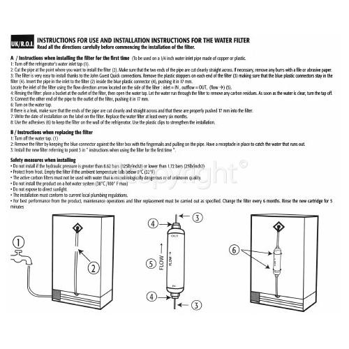 Wpro External Water Filter Cartridge USC100/WF001