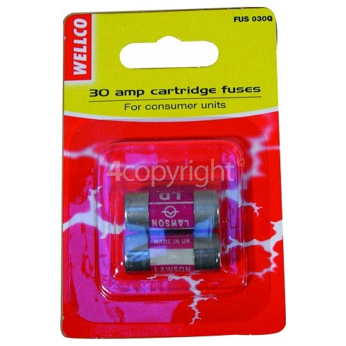 Wellco 30A BS1361 Consumer Unit Fuses X2 Single Part (Sp)