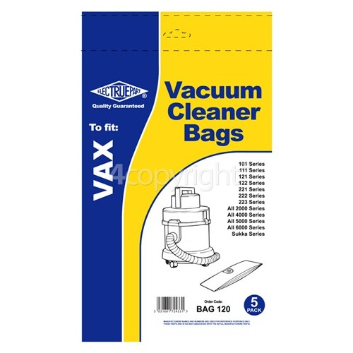 Vax Vax 1S Vacuum Dust Bag (Pack Of 5) - BAG120