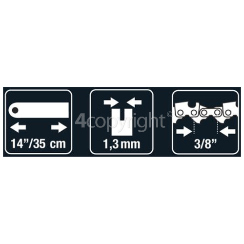 "Flymo BRO025 35cm (14"") 52 Drive Link Chainsaw Bar"