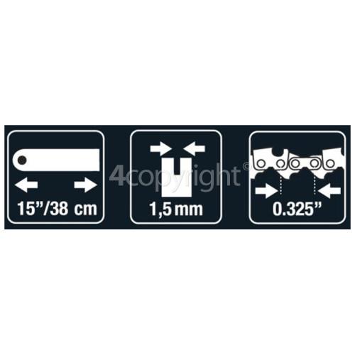 "Flymo BRO065 38cm (15"") 64 Drive Link Chainsaw Bar"