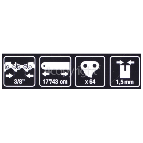 "Flymo CHO057 42cm (17"") 64 Drive Link Chainsaw Chain"