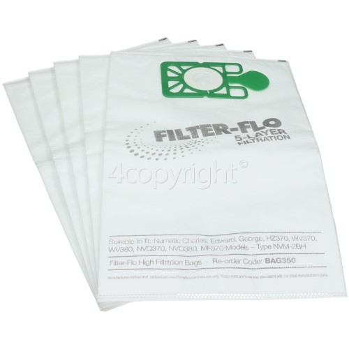 Compatible Numatic NVM-2BH Filter-Flo Synthetic Dust Bags (Pack Of 5) - BAG350