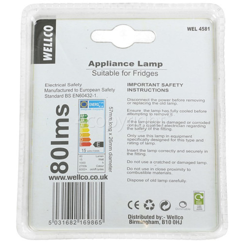 Sharp 15W SES (E14) Fridge Pygmy Lamp - Warm White
