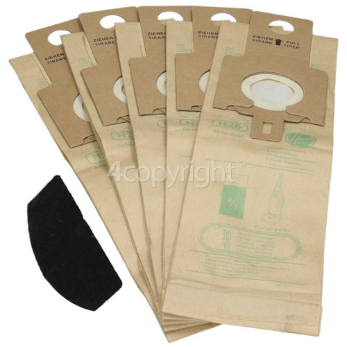 Hoover H20 Purepower High Filtration Dust Bags (Pack Of 5) & Pre Motor Filter