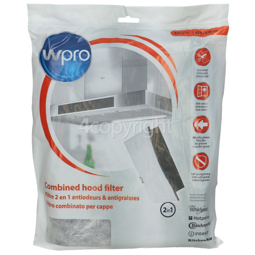 Wpro Universal FHC009 2-in-1 Grease & Carbon Filter (570x470mm) : UCF006 ( Cut To Size )