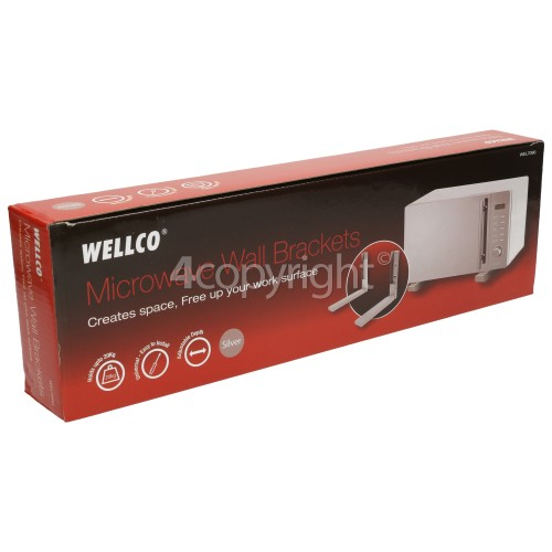 Wellco EMC1800M Microwave Oven Wall Bracket (Pair) Silver