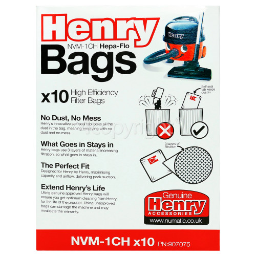 Numatic NVM-1CH 3 Layer Hepaflo Filter Dust Bag (Pack Of 10)