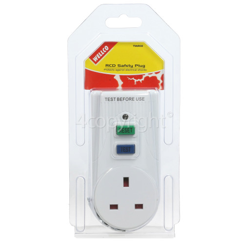 Wellco RCD Mains Safety Adaptor - UK Plug