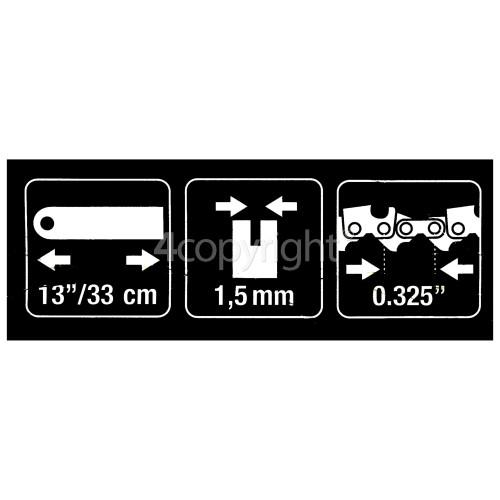 "Flymo BRO064 33cm (13"") 56 Drive Link Chainsaw Bar"