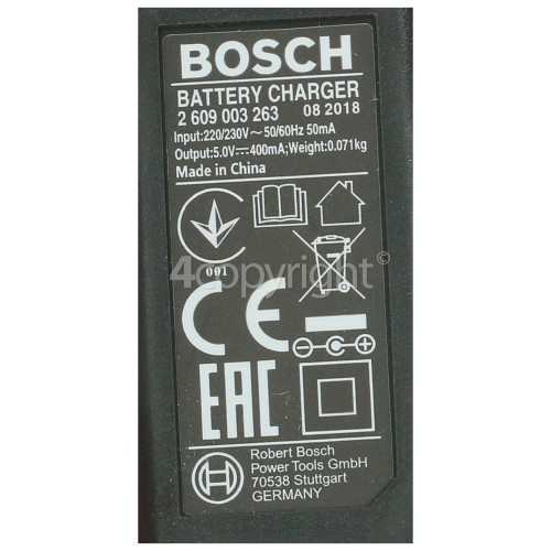 Bosch Battery Charger - EU Plug : Input 220V 230V Output 5V 400mA