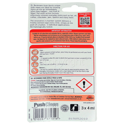 Dr.Beckmann Stain Devils Push & Wipe Stain Remover 3 X 4ml ; Removes Fat, Oil, Coffee, Jam, Lipstick Etc.