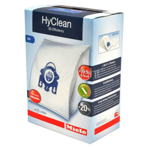 Miele GN HyClean 3D Efficiency Dust Bag & Filter Kit - Pack Of 4 Bags