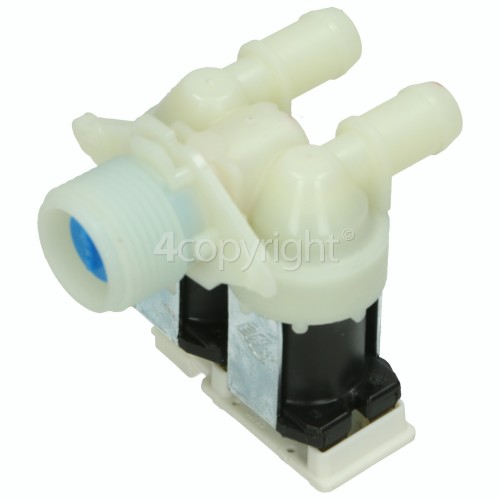 Bauknecht Cold Water Double Solenoid Inlet Valve : 180Deg. With 14.5 Bore Outlets