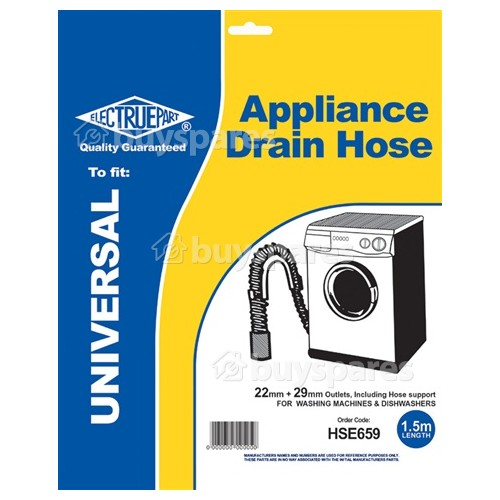 Universal 1.5m Drain Hose Straight 22mm / 29mm Internal Dia.s'