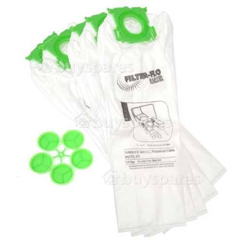 Sebo AUTOMATIC XP2 Filter-Flo Synthetic Dust Bags (Pack Of 5)