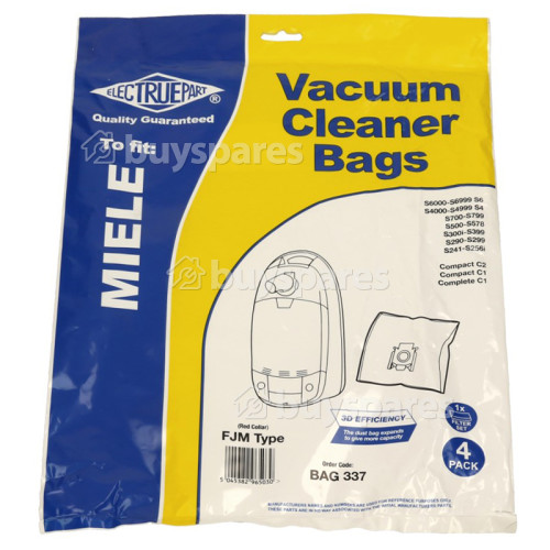 Miele S571 FJM 3D Filter-Flo Synthetic Dust Bags (Pack Of 4 With 2 Cut To Size Filters) - BAG337