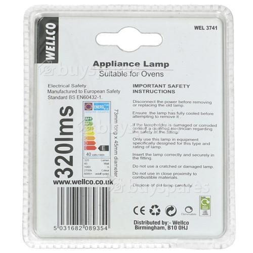 Wellco 40W ES (E27) Round Appliance Lamp