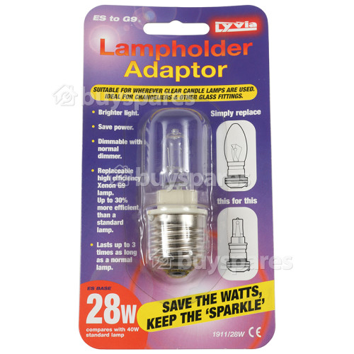 Lyvia Lyvia 28w Es To G9 Lampholder Adaptor Ideal For Chandeliers& Glass Fittings
