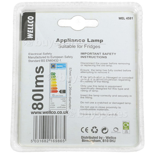 AEG 15W SES (E14) Fridge Pygmy Lamp - Warm White