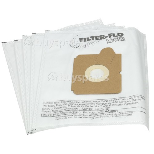 E51 / E51N / E65 / GR 5S Filter-Flo Synthetic Dust Bags (Pack Of 5) - BAG361