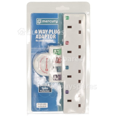 Crown Plug-in 4 Way Mains Adaptor: Separate Colour Coded On/Off Switches And Neon