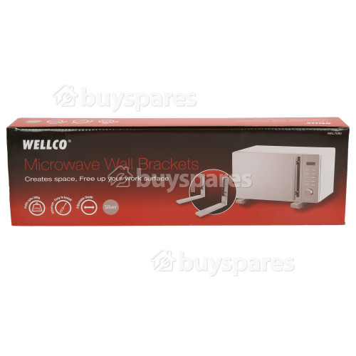 Wellco Microwave Oven Wall Bracket (Pair) Silver