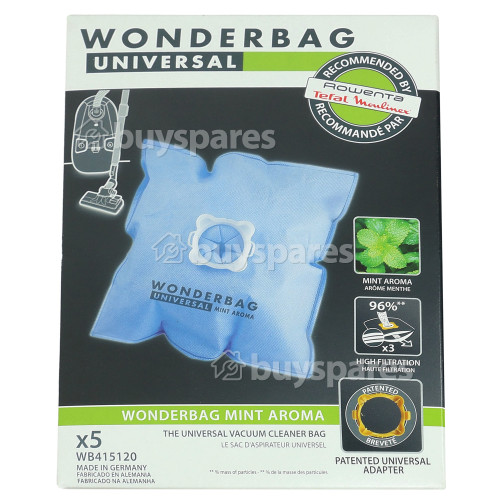 Rowenta Universal Wonderbag Mint Aroma Vacuum Bags (Pack Of 5) Calor Moulinex Rowenta Etc.