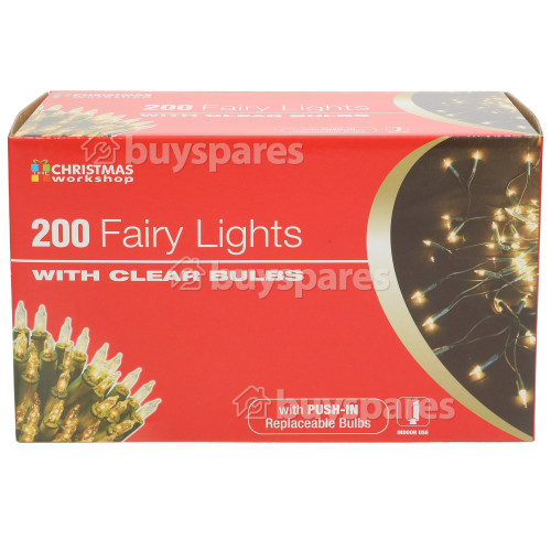The Christmas Workshop 200 Clear Fairy Lights Set - UK Plug