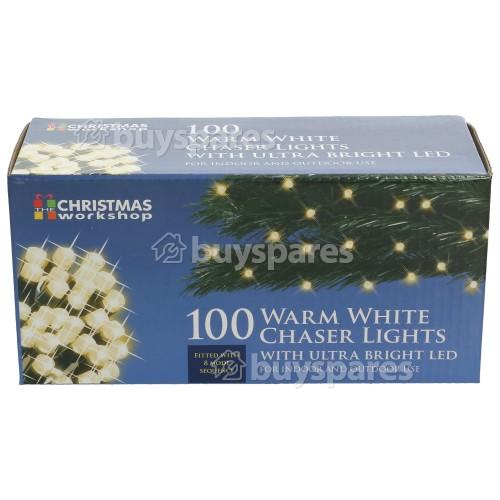 The Christmas Workshop 100 LED Warm White Chaser Lights Set - UK Plug