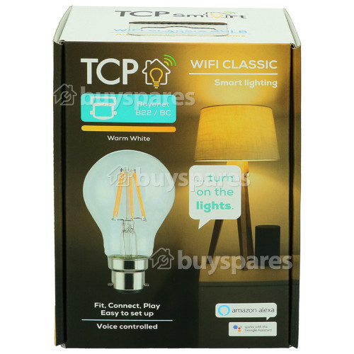 TCP Smart WiFi 7W BC/B22 Classic Filament LED Lamp (Warm White)
