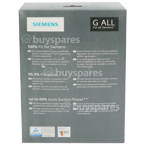 Bosch Neff Siemens PowerProtect G All Synthetic Vacuum Dust Bags (Pack Of 4)