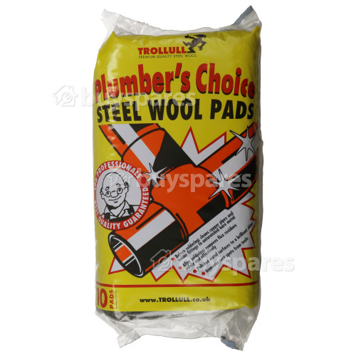 Trollull Plumber's Choice Steel Wool Scouring Cleaning Pads - Pack Of 10