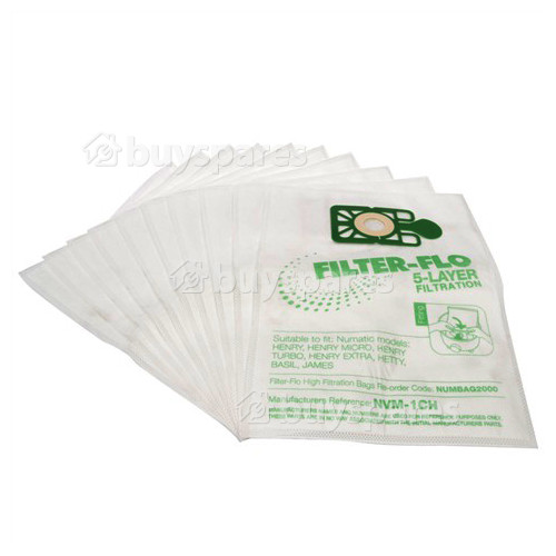 Compatible NVM-1CH Filter-Flo Synthetic Dust Bags (Pack Of 10)