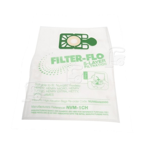 Numatic NVM-1CH Filter-Flo Synthetic Dust Bags (Pack Of 10)