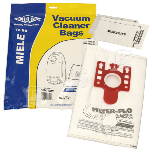 FJM 3D Filter-Flo Synthetic Dust Bags (Pack Of 4 With 2 Cut To Size Filters) - BAG337