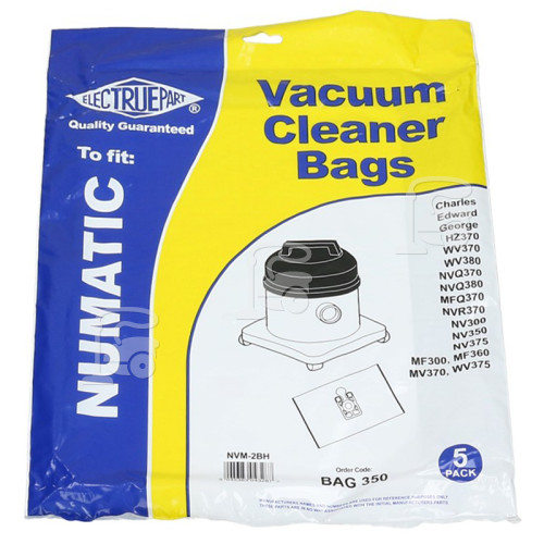 Numatic Compatible Numatic NVM-2BH Filter-Flo Synthetic Dust Bags (Pack Of 5) - BAG350