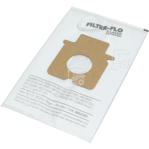 Panasonic Compatible Panasonic C-20E / C-17H Filter-Flo Synthetic Dust Bags ( 35600726 ) (Pack Of 5) BAG353