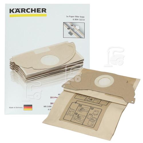 Sacs Filtrants En Papier 2 Couches Pour Aspirateur (Lot De 5) Karcher