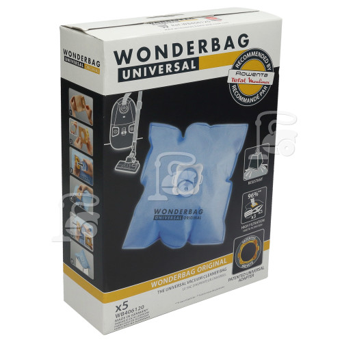 Rowenta 17972 Universal Wonderbag Original Vacuum Cloth Bag (Pack Of 5)DER