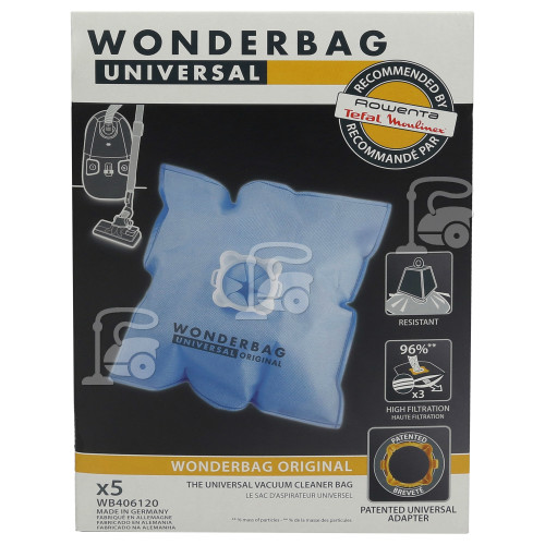 Rowenta Universal Wonderbag Original Vacuum Cloth Bag (Pack Of 5)DER
