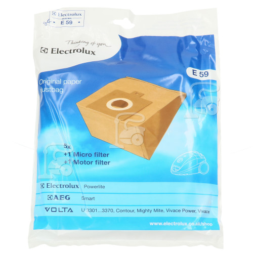 Electrolux E59 Powerlite Paper Bag (Pack Of 5)