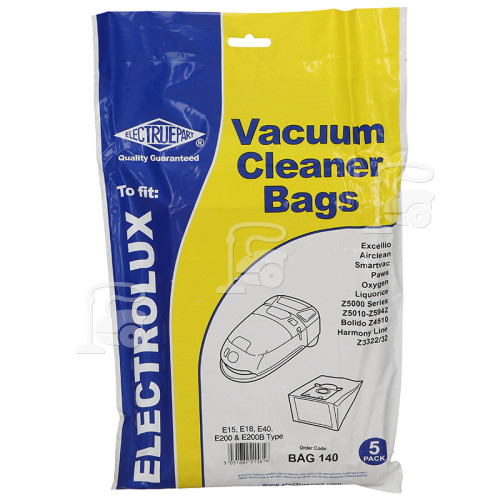 E15 E40 E200 & E200B Dust Bag (Pack Of 5) - BAG140