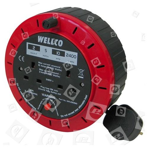 Wellco 2-Steckdosen Verlängerungskabelrolle
