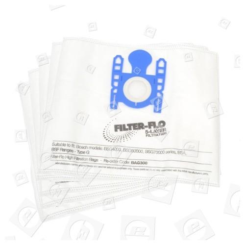 Typ G Filter-Flo Synthetische Staubsaugerbeutel (5er Pack) - BAG308